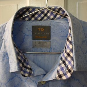 Thomas Dean Blue Shirt Small Tailored Fit